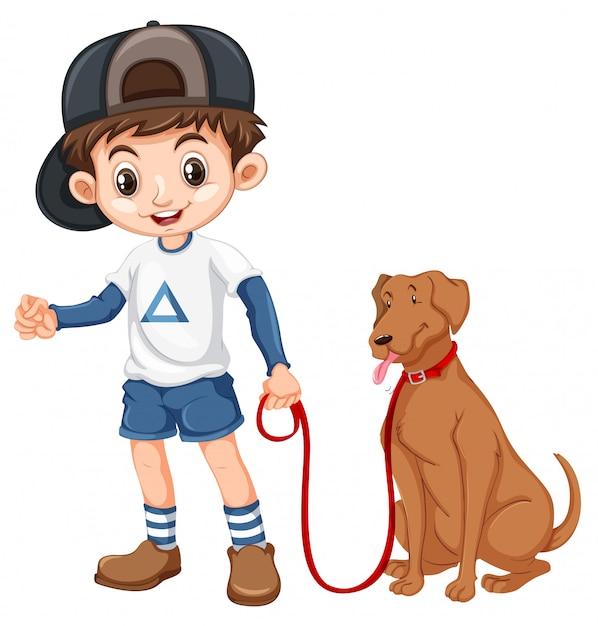 Een jongen en een hond op witte achtergrond Premium Vector