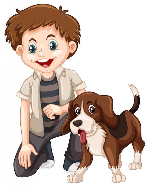 Een jongen en een hond Premium Vector