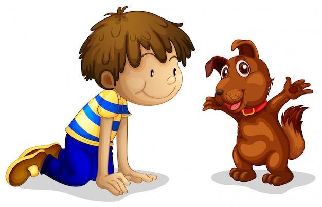 Een jongen en zijn bruine huisdier Gratis Vector