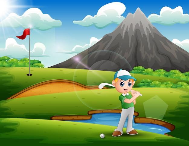 Een jongen golfen in de prachtige natuur Premium Vector
