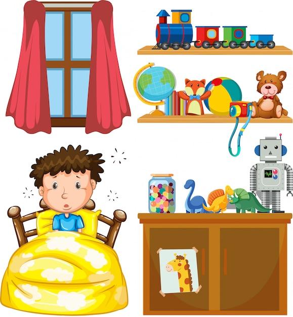 Een jongen in de slaapkamer Gratis Vector