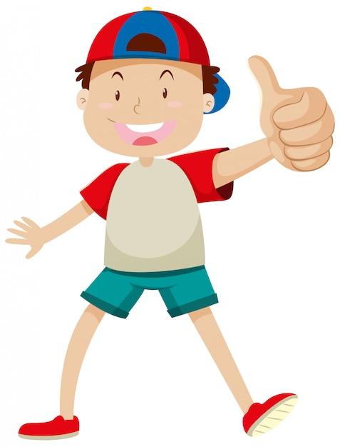 Een jongen met duim die omhoog in gelukkige geïsoleerde stemming stelt Gratis Vector