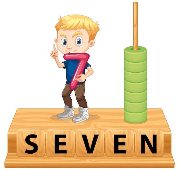 Een jongen met nummer zeven Gratis Vector