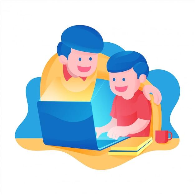 Een jongen met zijn vader die online in school van huisactiviteit leert, voor laptop studeert en kleurrijke themaillustratie boekt Premium Vector