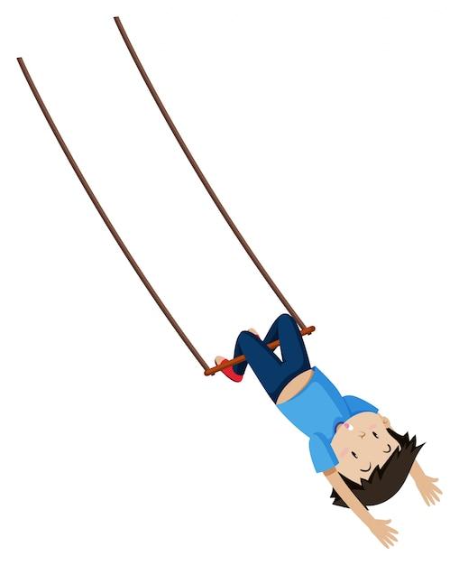Een jongen op trapeze swing Gratis Vector