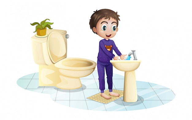 Een jongen wast zijn handen bij de gootsteen Gratis Vector