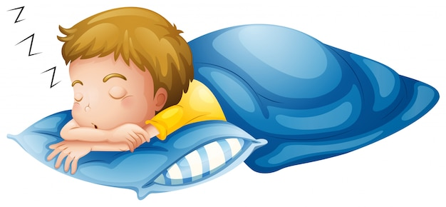 Een jongetje slaapt Gratis Vector