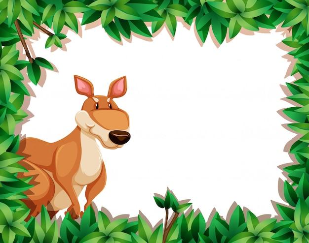 Een kangoeroe op aardkader Gratis Vector