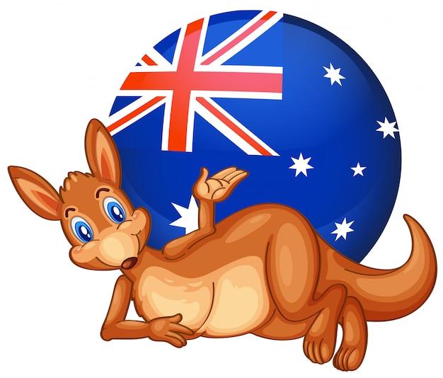 Een kangoeroe voor de bal met de australische vlag Gratis Vector