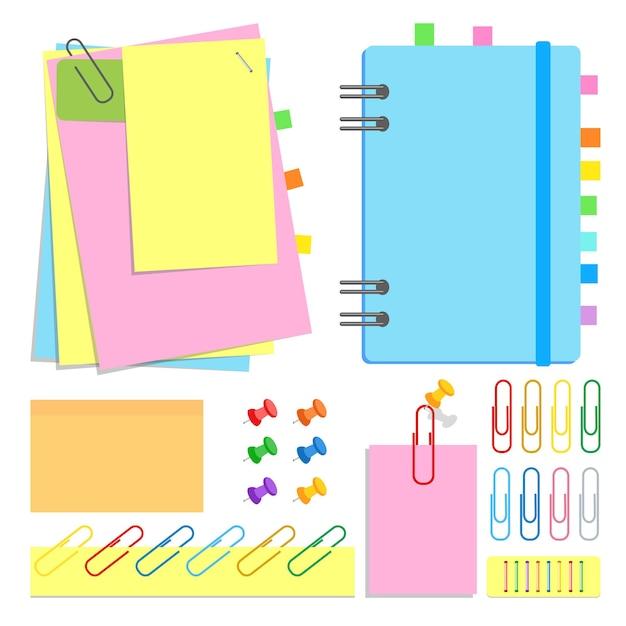 Een kanselarij. gesloten notitieboekje op een spiraal, plakvellen in verschillende vormen en kleuren, bladwijzers, spelden, clips, nietjes. Premium Vector