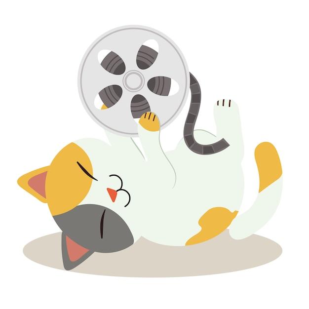 Een karakter van leuke kat die ter plaatse slaapt. kat spelen met film filmtape en het zo blij. een schattige kat in platte vectorstijl Premium Vector