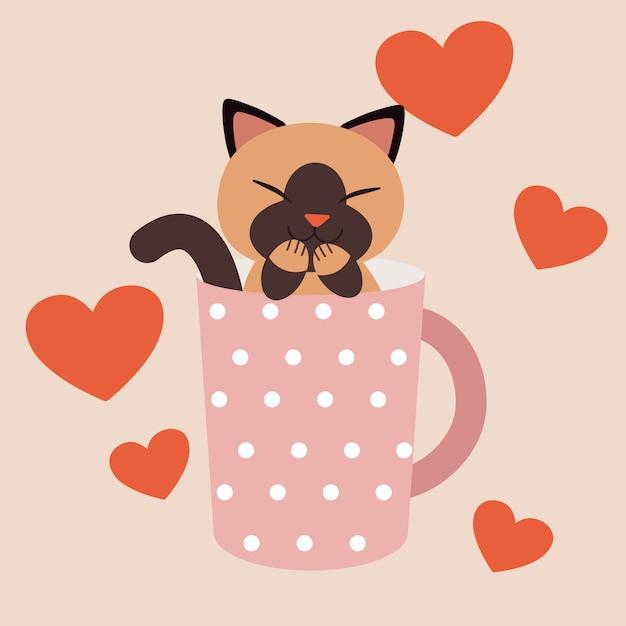 Een karakter van leuke kattenzitting in de roze stipkop Premium Vector