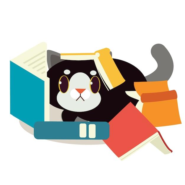 Een kat met een boek Premium Vector