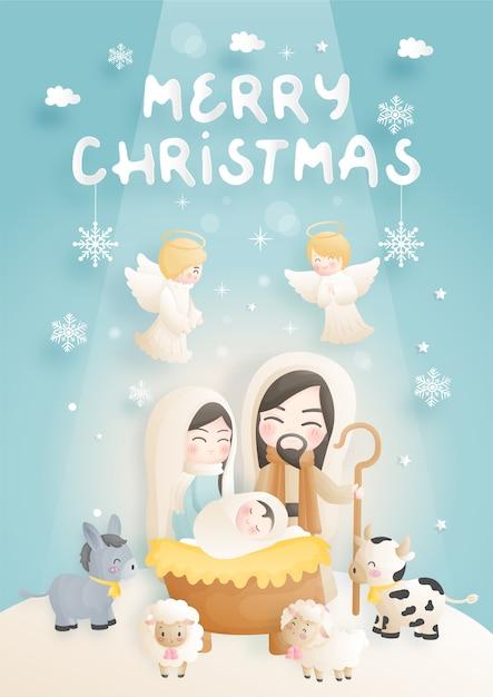 Een kerststal cartoon, met baby jezus, maria en jozef in de kribbe met ezel en andere dieren. christelijk religieus Premium Vector