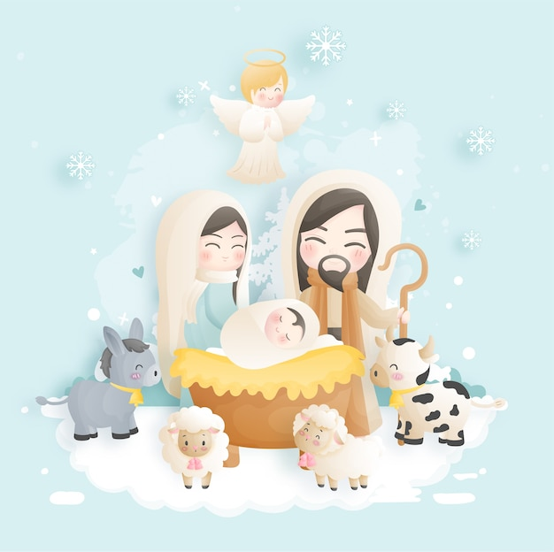 Een kerststal cartoon, met baby jezus, maria en jozef in de kribbe met ezel en andere dieren. christelijke religieuze illustratie. Premium Vector