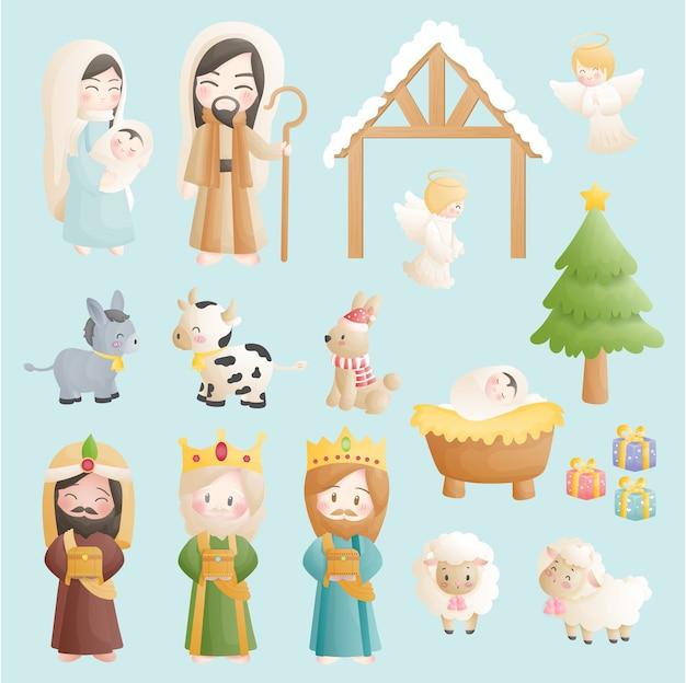 Een kerststal cartoon set, met baby jezus in de kribbe met engelen, ezel en andere dieren. christelijk religieus Premium Vector