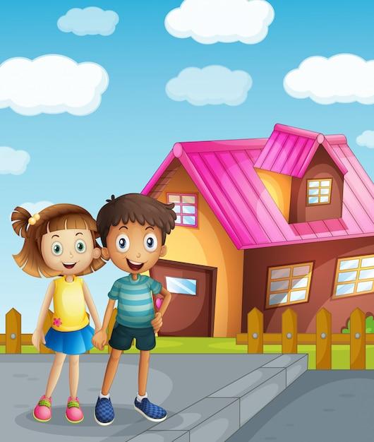 Een kind en een huis Gratis Vector