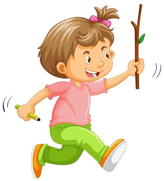 Een kind met stok aan de hand Gratis Vector