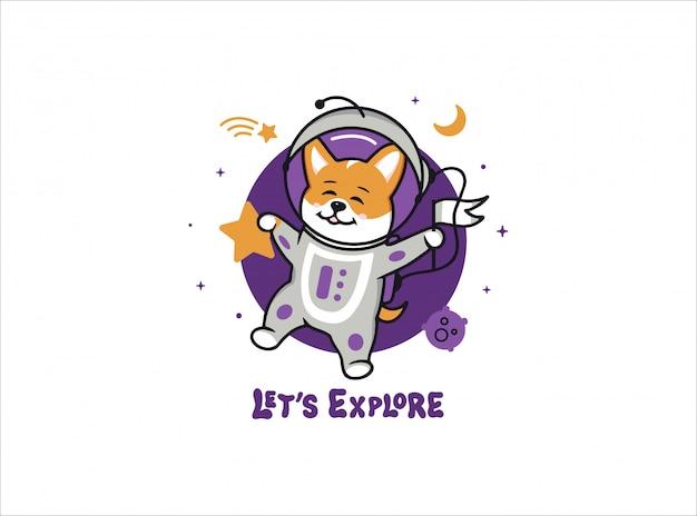 Een kleine astronaut hond corgi, ruimte logo met tekst. Premium Vector