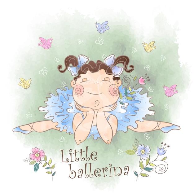 Een kleine ballerina met vogels Premium Vector