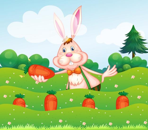 Een konijn dat een wortel houdt bij de tuin Gratis Vector
