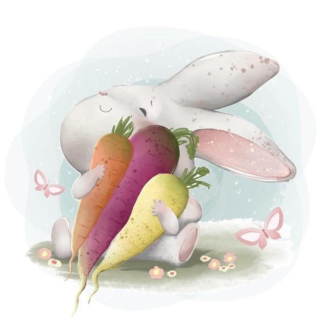 Een konijn dat van zijn wortels houdt Premium Vector