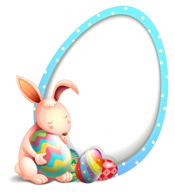 Een konijn met paaseieren naast een eivormige bewegwijzering Gratis Vector