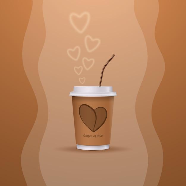 Een kop warme koffie van liefde. fijne valentijnsdag. Premium Vector