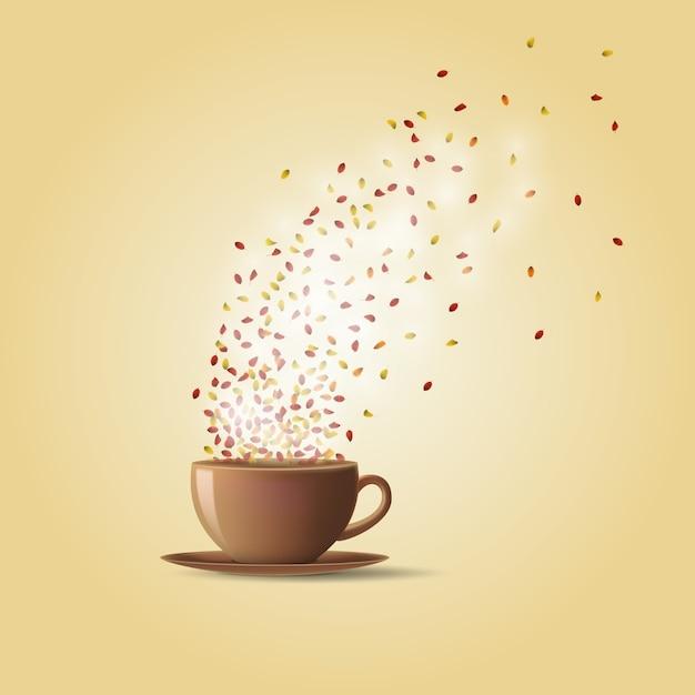 Een kop warme thee met herfstbladeren Premium Vector