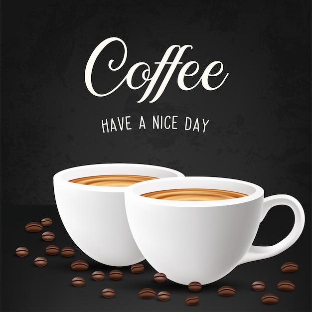 Een kopje cafe latte en koffiebonen. illustratie Premium Vector