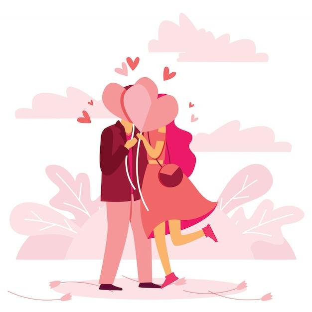 Een kus voor liefde Premium Vector