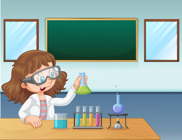 Een laboratoriummeisje in klaslokaal Gratis Vector