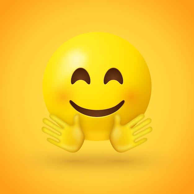 Een lachende gezichtemoji met roze wangen en open handen Premium Vector