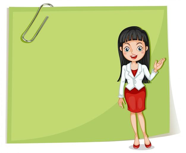Een lege bewegwijzering met een zakenvrouw Gratis Vector