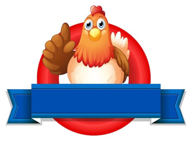 Een lege sjabloon met een kip Gratis Vector