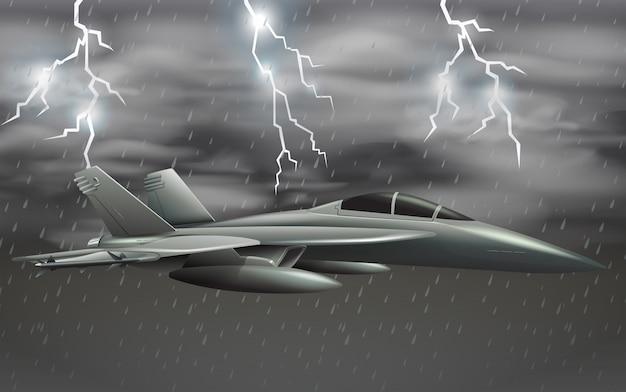 Een legervliegtuig bij slechte weerhemel Gratis Vector
