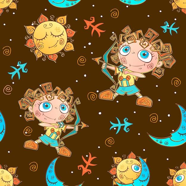 Een leuk naadloos patroon voor kinderen. sterrenbeeld boogschutter. Premium Vector