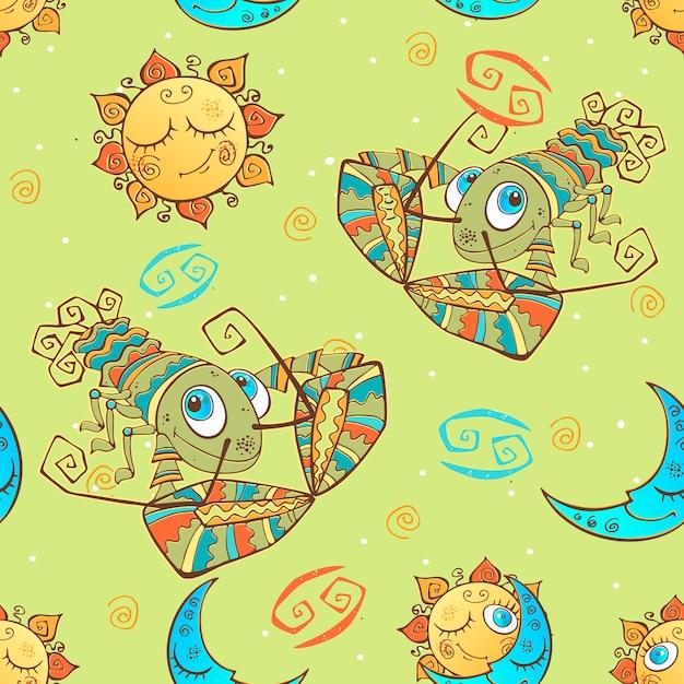 Een leuk naadloos patroon voor kinderen. sterrenbeeld kreeft. Premium Vector