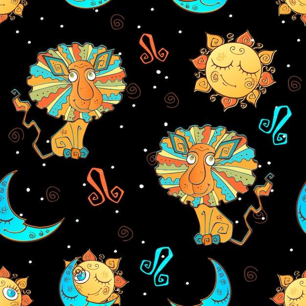 Een leuk naadloos patroon voor kinderen. sterrenbeeld leeuw in het zwart Premium Vector