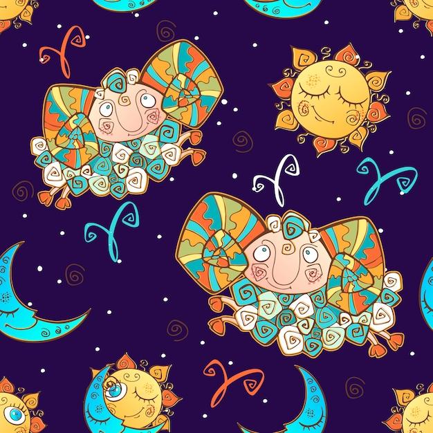 Een leuk naadloos patroon voor kinderen. sterrenbeeld ram. Premium Vector