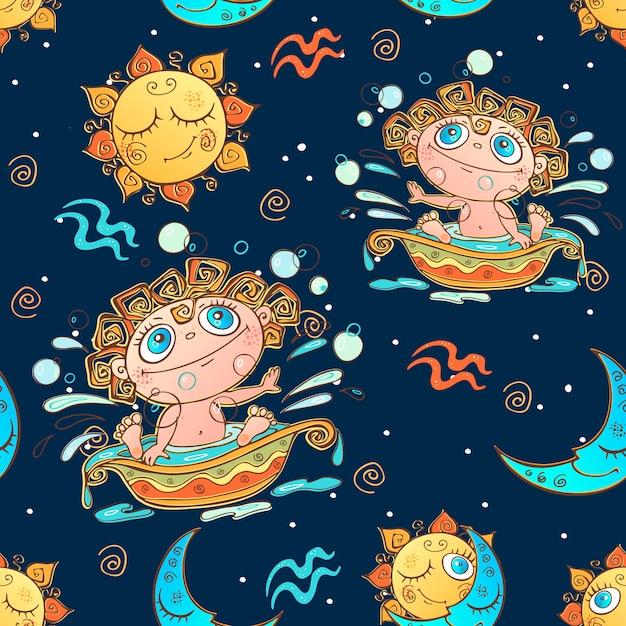 Een leuk naadloos patroon voor kinderen. sterrenbeeld waterman. Premium Vector