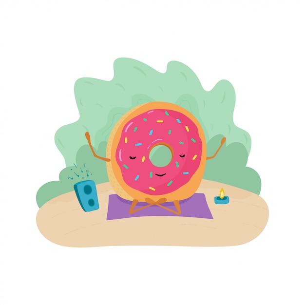 Een leuke kleurrijke illustratie van een donut die op een deken met muziek en een kaars mediteert. Premium Vector