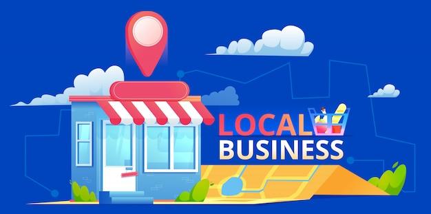 Een lokale seo-banner, een kaart en een winkel in een realistische weergave. vlakke afbeelding Premium Vector