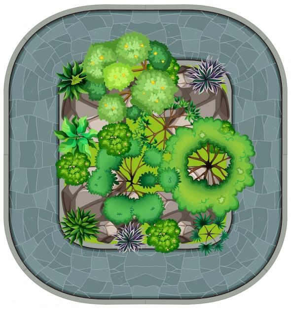 Een luchtfoto van de tuin Gratis Vector