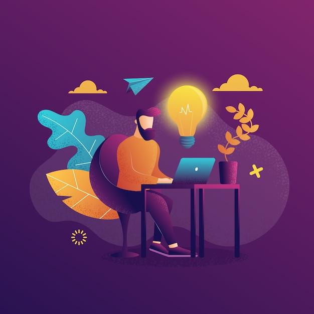 Een man aan het werk die met een laptop werkt. Premium Vector