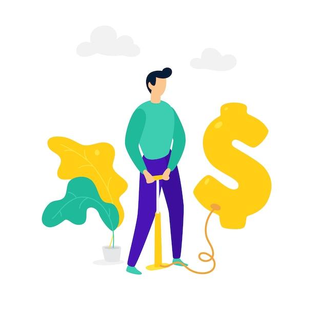 Een man blaast een dollarballon op met een pomp. vector. Premium Vector