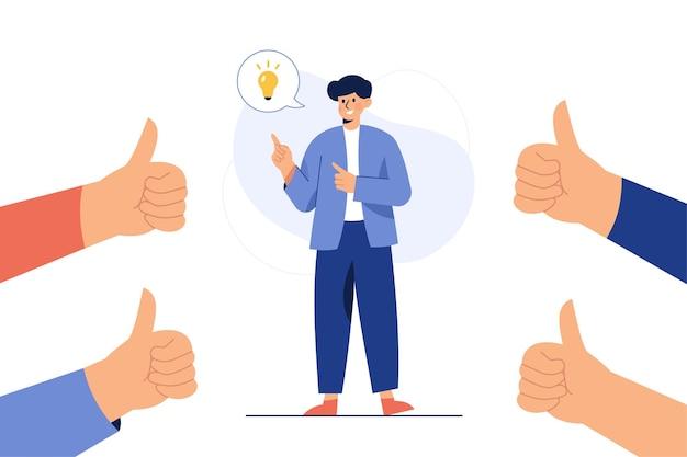 Een man die een idee bedenkt en bewonderd wordt door duimen omhoog Gratis Vector