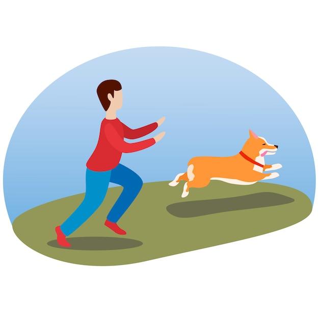 Een man die met zijn hond loopt. gelukkige schattige hond. welsh corgi. puppy-plezier loopt en steekt zijn tong uit. Premium Vector