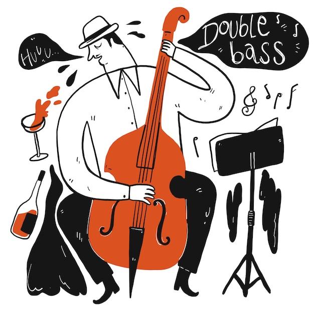 Een man die muziek speelt. verzameling van hand getrokken, vectorillustratie in schets doodle stijl. Premium Vector