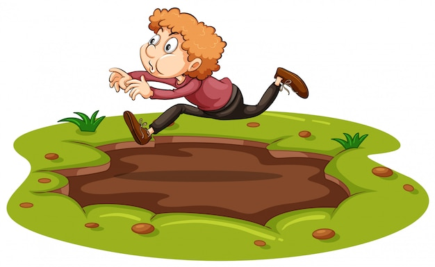 Een man die over modder springt Gratis Vector